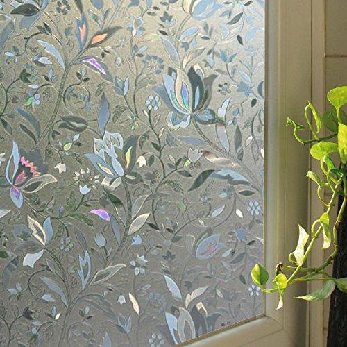 Film Wide Roll 24 (Leyden 2 Roll 24-by-72-Inch Cut Glass Tulips Pattern No-Glue 3D Static Decorative Glass Window Films)