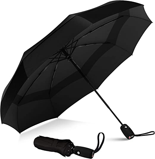 Hand Drawn Mermaid Windproof Travel Umbrella Manual Tri-fold Umbrella