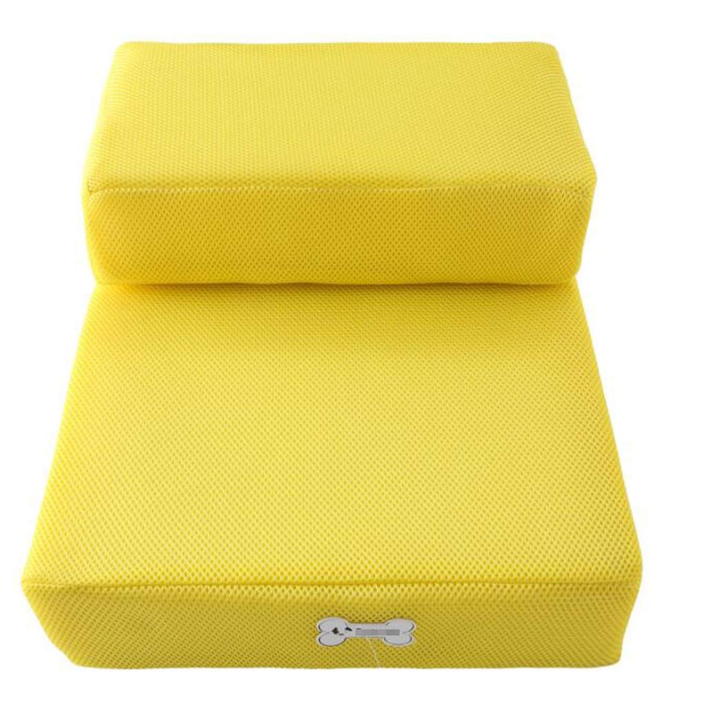 GQQ Pet Dog Stairs Breathable Mesh Collapsible Dog Training Play Stairs Sponge Mat Climbing Bed Ladder, Yellow