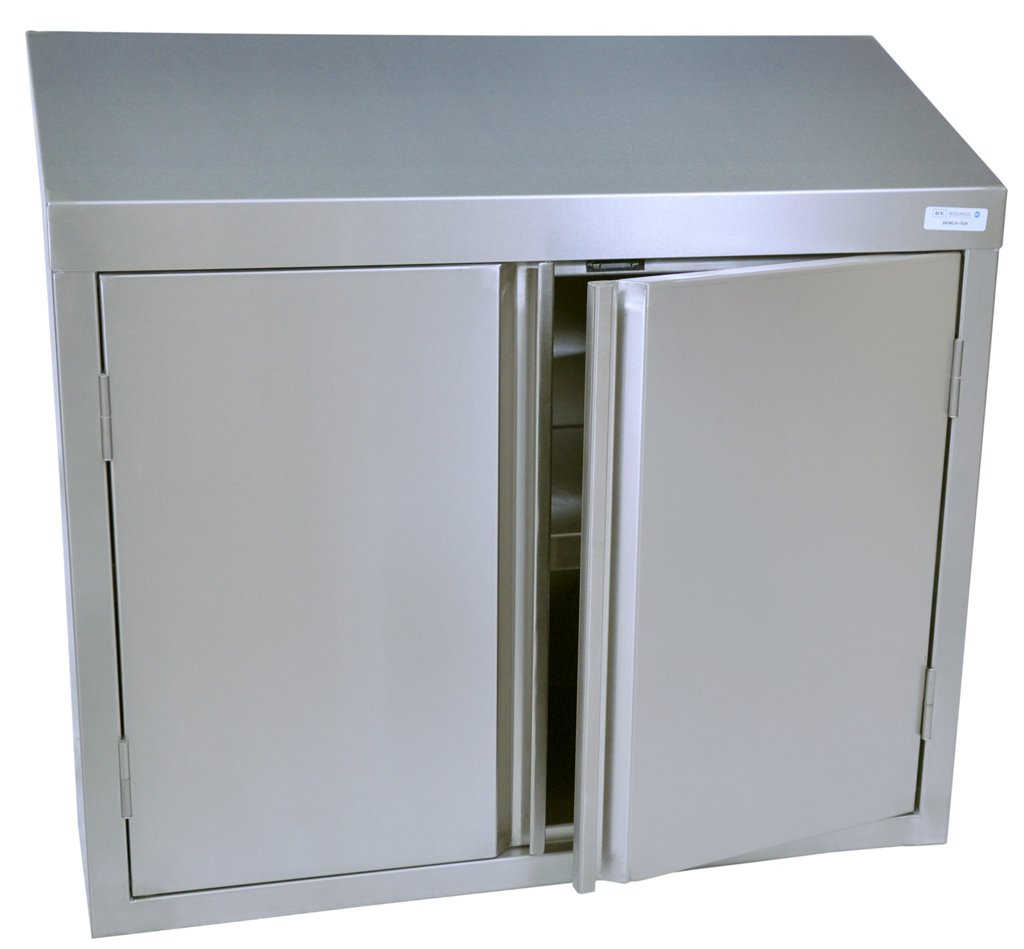 BK Resources Wall Mounted 18 Gauge Stainless Steel Cabinet with Hinged Doors and Shelf, 24''W x 15''D x 32-1/2''H