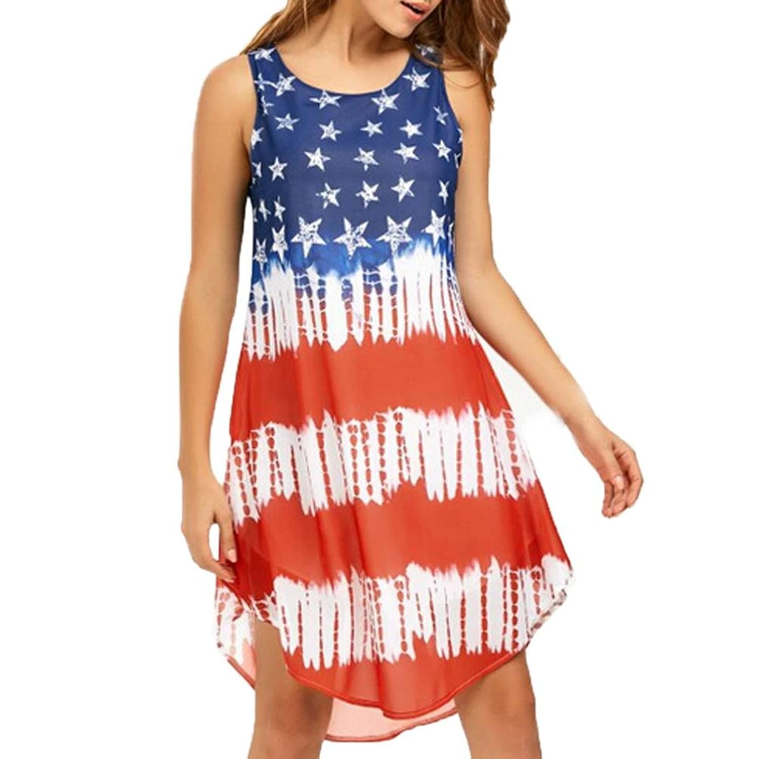 97ada4ab510 Top2      Vovotrade     Ladies Loose Sleeveless American Flag Print Chiffon  Tank Dress Beach Party Dress