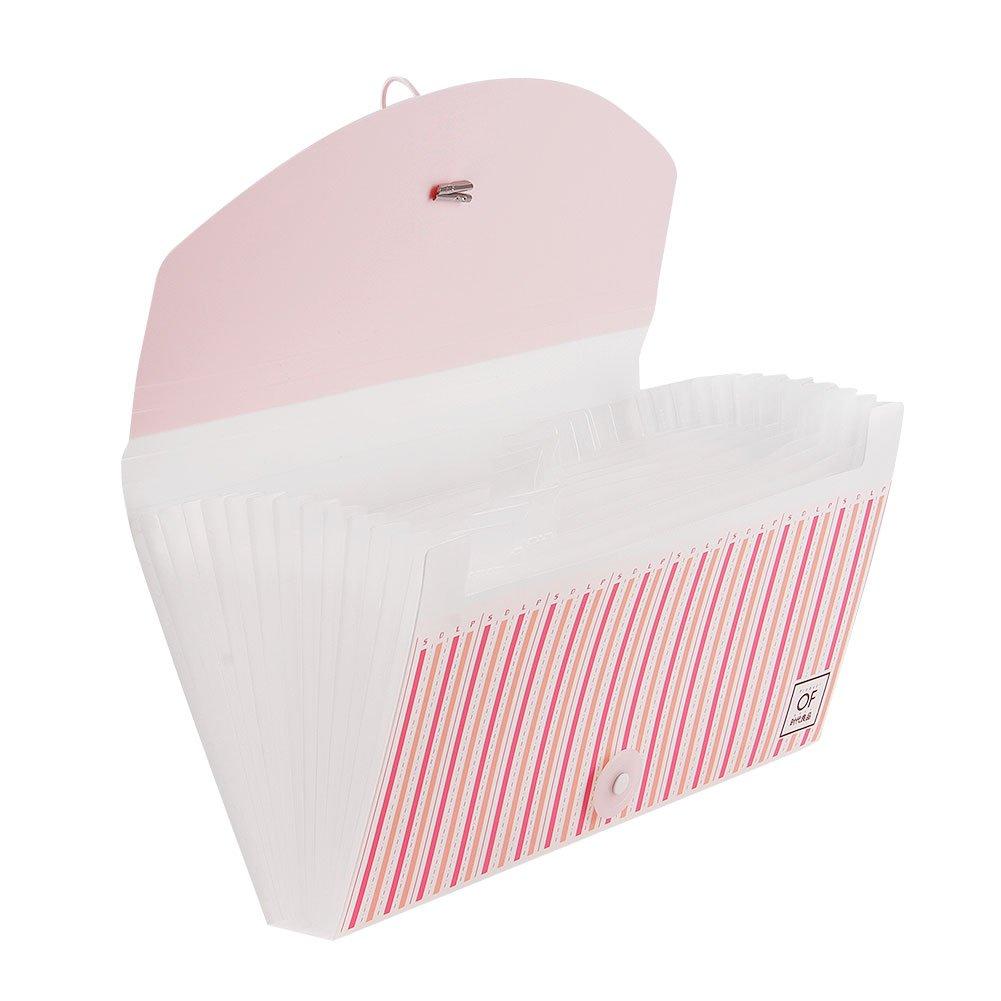13 Pocket Expanding File Accordion File FolderPortable Hand-Held Check Bill File FolderWomen Girls Colorful Stripes File Organizer Receipts Coupons Ticket Document Holder Storage Bag Wallet Case