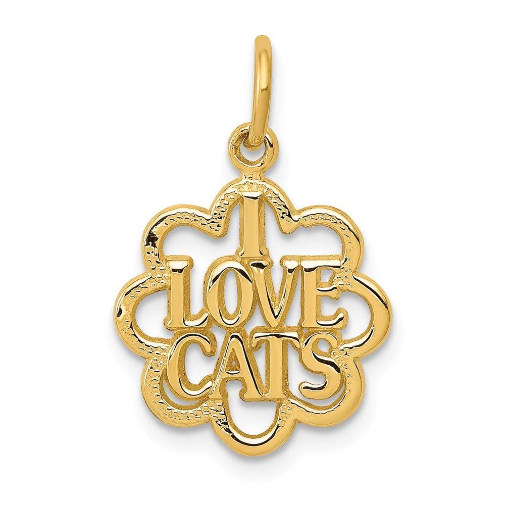 14k I Love Cats Charm by DiamondJewelryNY