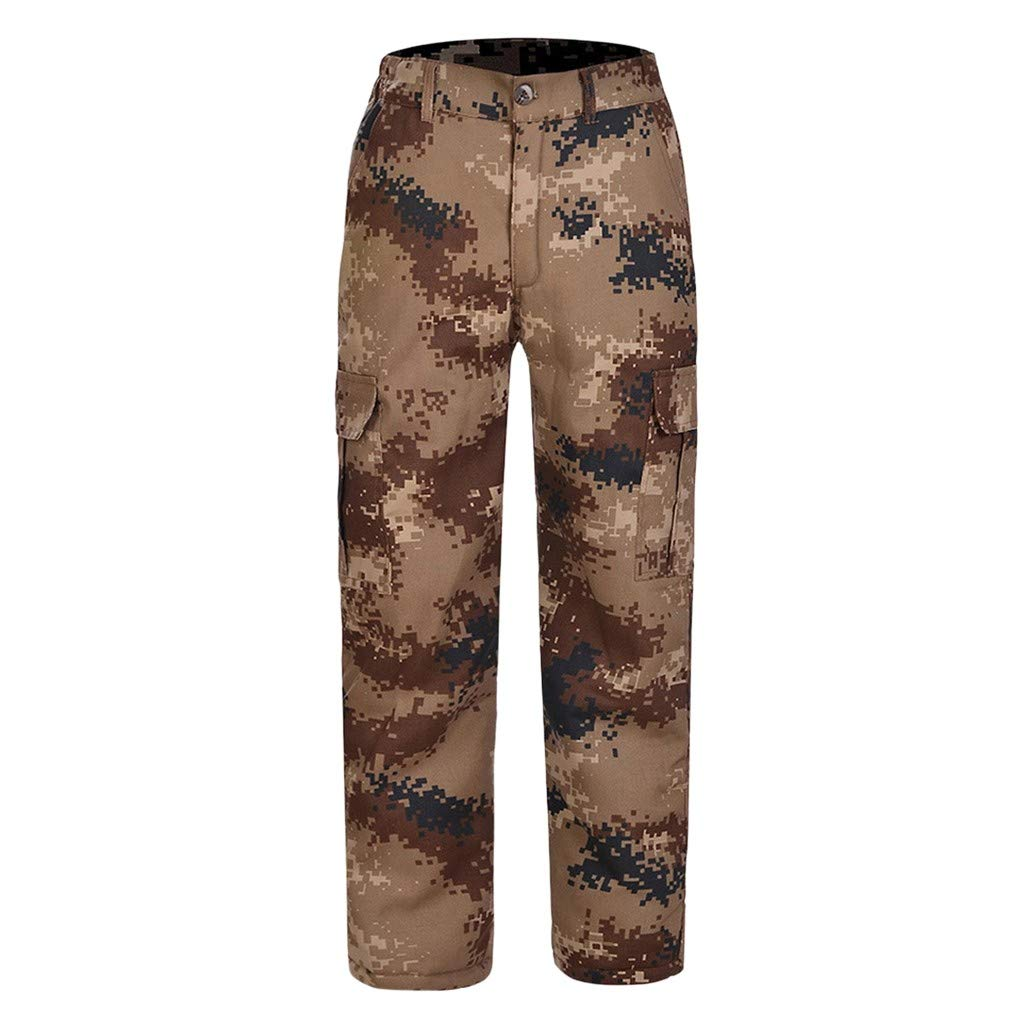 Men's Camouflage Cargo Pants Military Army Camo Combat Work Cargo Pants with Pockets Casual Tactical Thicken Taper Stretch Long Trousers by Armfre Bottom