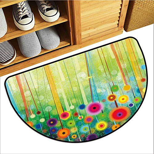 Front Door Mat Carpet, Flower Custom Doormats for High Traffic Areas, Abstract Dandelion Inspired Spiral Blooms Petals Geometrical Shapes Nature Art Theme (Multicolor, H20 x D32 Semicircle)