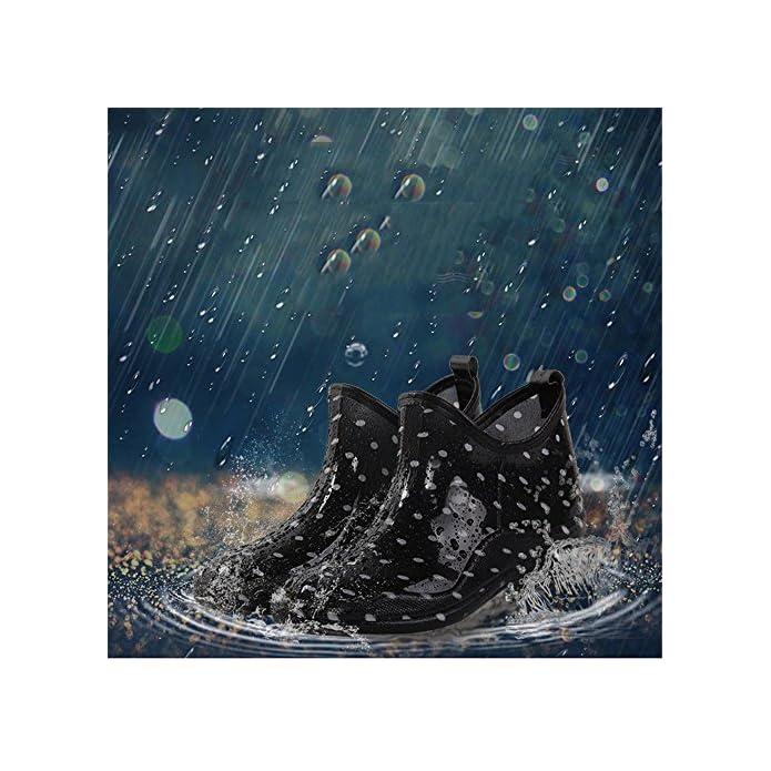 Dfghbn Scarpa Da Pioggia E Giardino Con Sottopiede Comfort Per Tutto Il Giorno Stampa A Pois Nero bianco Stivaletti Lavori All'aperto dimensione 38 Eu