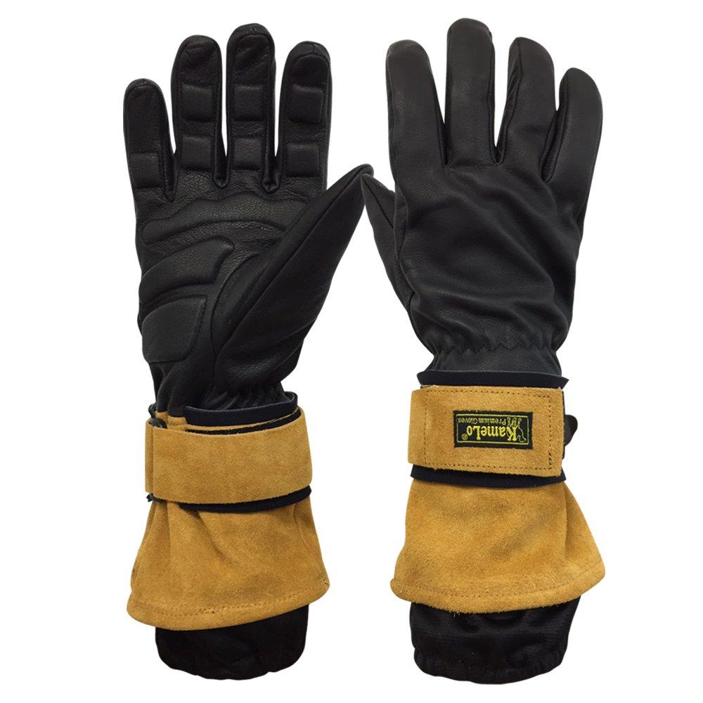 KameLo Anti-Vibration Gloves, Genuine leather, Rubber Padding, Mechanic Work Gloves, Impact Resistant Gloves
