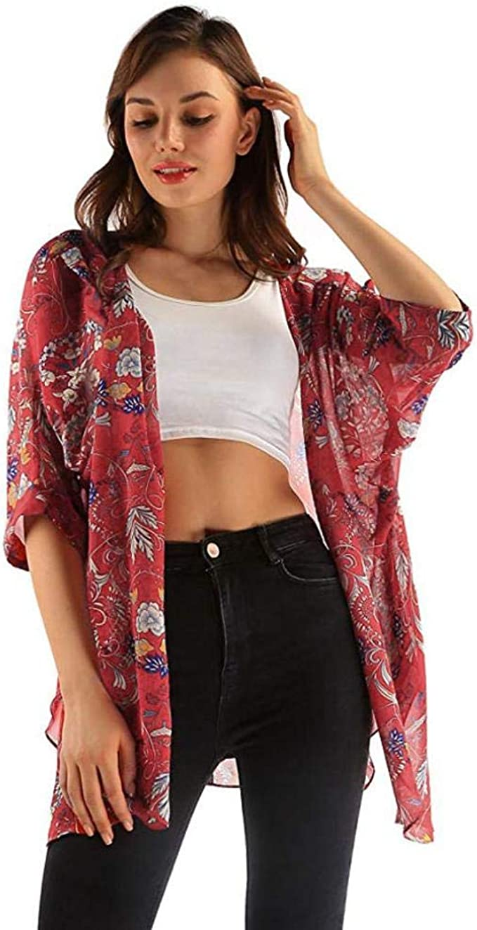 Women Short Sleeve Chiffon Jacket Coat Floral Print Asymmetrical Cardigan Tops