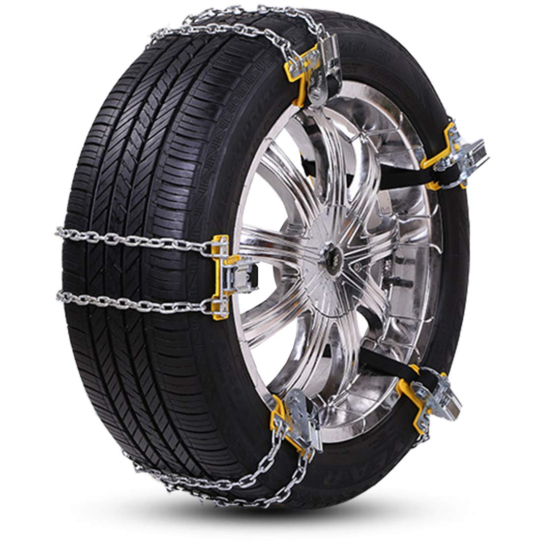 """Big Ant Snow Chain Anti-Skid Tire Snow Chains, Winter Tire Chains for Car Adjustable Emergency Snow Chain Fit Tire Width 235-285mm/9.25-11.2"""" (6PCS)"""