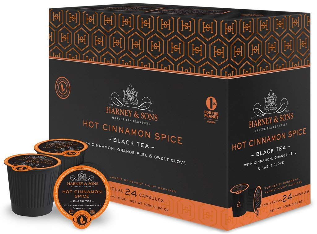 Harney and Sons Hot Cinnamon Spice Single Serve Tea Pods, 72 Pack | Compatible with Keurig K Cup Brewers | No Sugar Added | One Capsule Per Cup