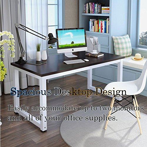 Wood Computer Desk Modern Simple Style 47.2 Office Desk PC Laptop Study Table, Multi-purpose Square Desk Writing Workstation for Home Office Use Black White Leg