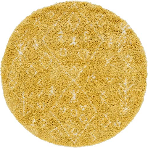 Unique Loom Rabat Shag Collection Tribal Nomad Plush Yellow Round Rug (5' 0 x 5' 0)