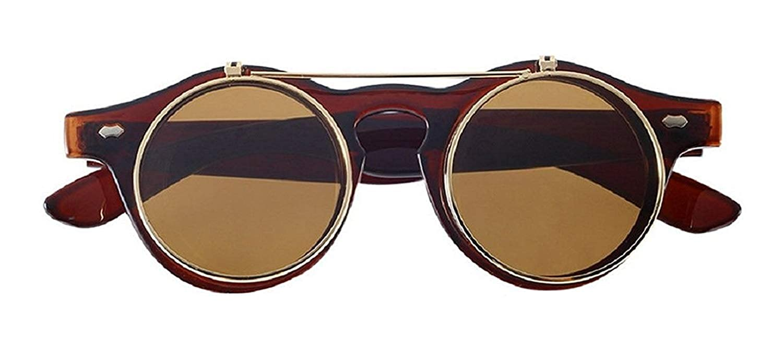 Inception Pro Infinite Gafas de sol redondas steampunk abatibles hipster de doble lente con varilla