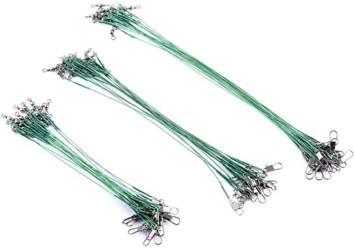 60Pcs 15//20//25cm Fishing Lure Trace Wire Leader Swivel Tackle Steel Spinner Good