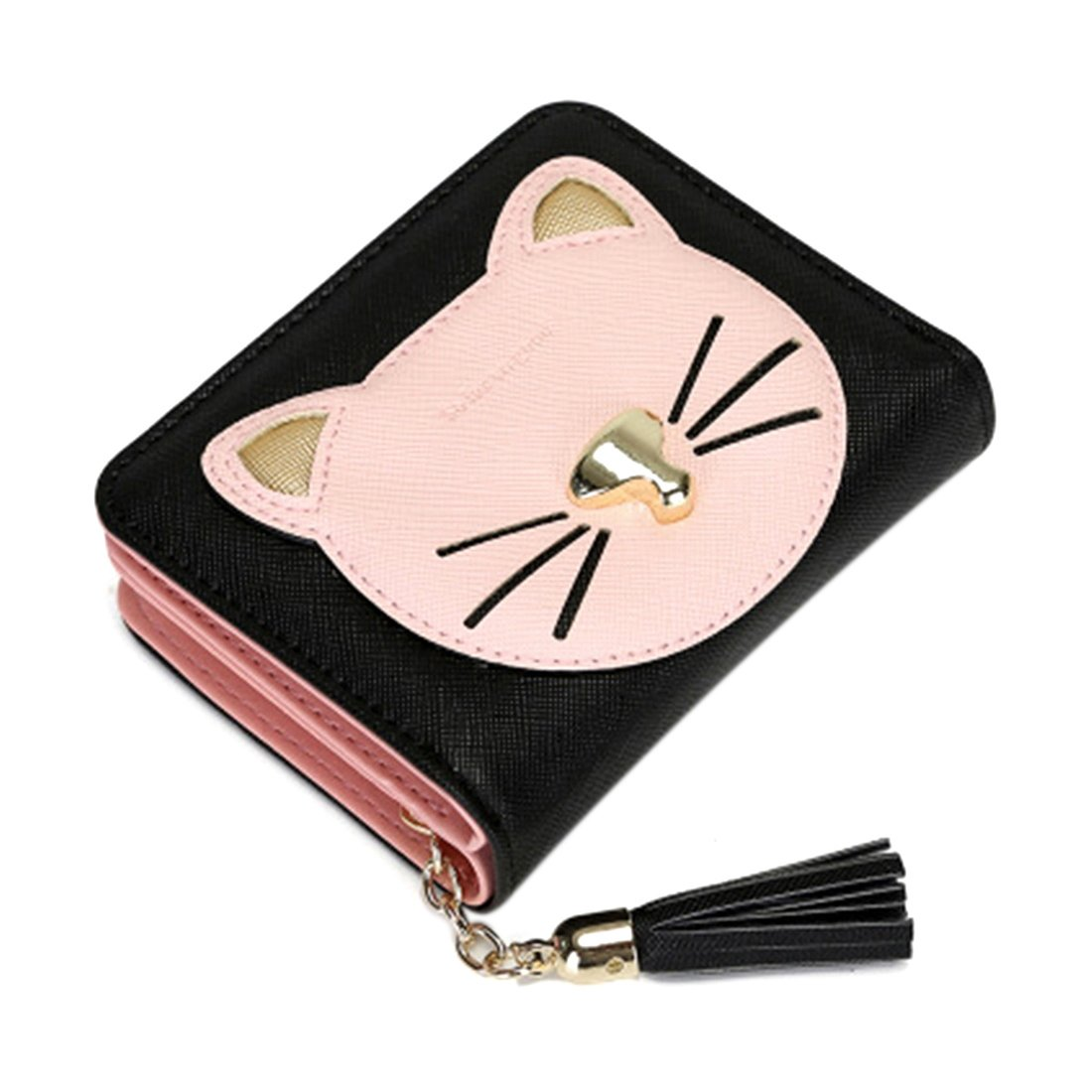 Womens Wallet PU Leather Card Holder Organizer Girls Small Cute Coin Purse (Black)