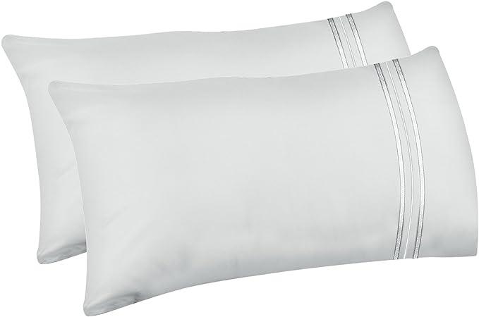 Lirex 2-Pack Fundas de Almohada, Tamaño Queen Fundas de Almohada de Microfibra Suave Cepillada, Transpirables sin Arrugas y Lavables a Máquina (Blanco, Queen): Amazon.es: Hogar