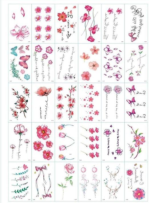 QAWSED Flor Verde Planta Tatuaje Pegatinas Impermeable Lindo ...