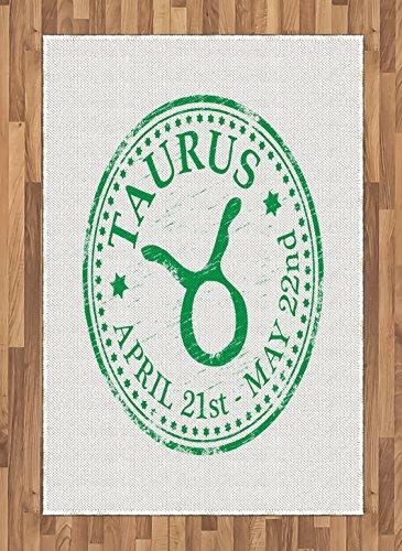 Cheap  Ambesonne Zodiac Taurus Area Rug, Grunge Looking Graphic Rubber Stamp Design Vintage..