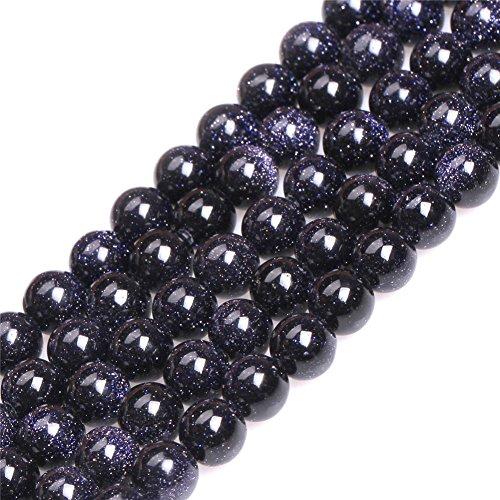 6mm Round Blue Sandstone Sand Stone Semi Precious Beads for Jewelry Making Strand (Blue Semi Precious Stone)