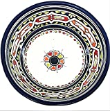Navy Blue Handpainted Moroccan Ceramic Bowl with Floral Design