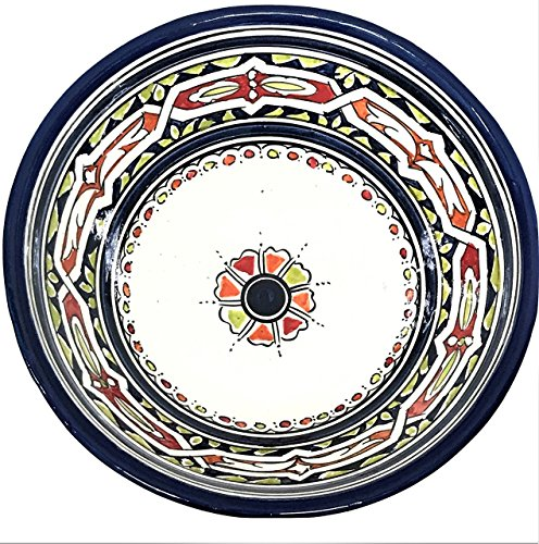 Navy Blue Handpainted Moroccan Ceramic Bowl with Floral Design by Atlas Showroom
