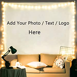 "Personalized Wall Tapestry Customize Your Own Picture Print Text and Logo Wall Hanging Decor Dorm Room Tapestry with Star String Lights Wedding Anniversary Family Holiday Birthday Gift, 39.4"" x 27.6"""