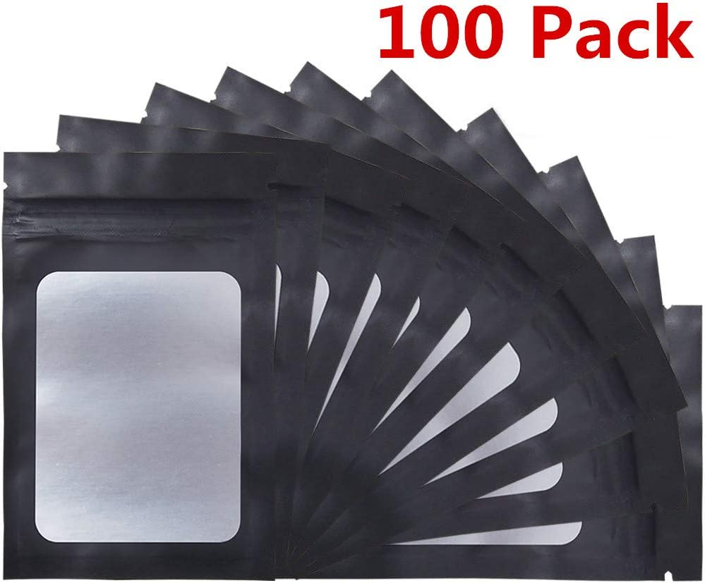 100 Pack Smell Proof Bags - 3 x 4.7 Inch Resealable Mylar Bags with Clear Window Foil Pouch Bag Flat Ziplock Bag Matte Black