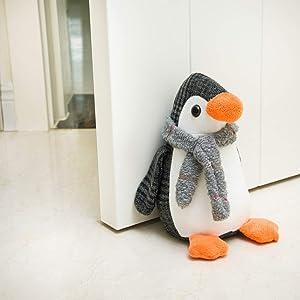 Decorpro Cute Decorative Door Stopper for Home and Office Door Stopper, Penguin Weighted Interior Fabric Design Door Stopper