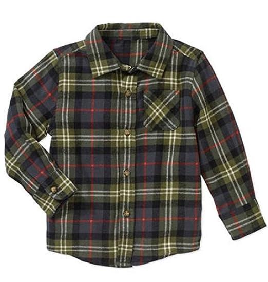 f692ab0b7 Amazon.com: Healthtex Baby Toddler Boys Flannel Shirt (Green, 2t ...