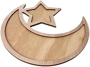 Food Serving Tray, Islam Eid Moon Star Shape Pastry Tray | Table Decoration Food Serving Tray for DIY Home Dessert Cupcake Rustic Biscuit Snack