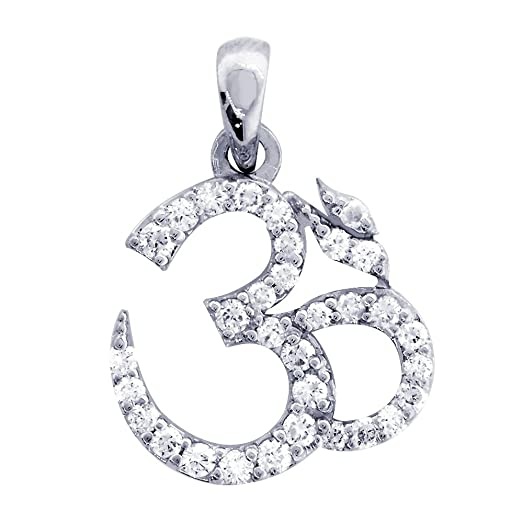Amazoncom Diamond Yoga Ohm Om Aum Symbol Charm in 14K White Gold