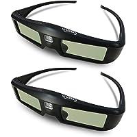 Exquizon G06-DLP Lunettes 3D (Fréquence de Rafraîchissement de 144Hz) Compatibles avec tous les DLP-Link HD projecteurs Optama, Acer, BenQ, ViewSonic, Dell, Vivitek, MITSUBISHI(2 Pack)