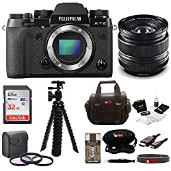 Fujifilm X-t2 Mirrorless Digital Camera (Body Only) W14mm F2.8 R Lens + Focus 32gb Gadget Bag