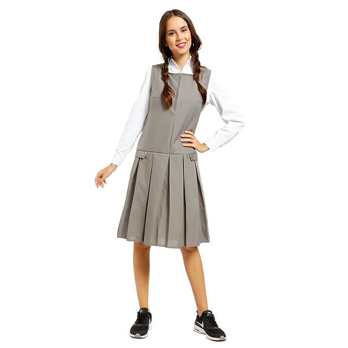 f1226094b74f Amazon.com: Fashoutlet Girls School Uniform Pinafore Dress (Medium, Grey):  Clothing