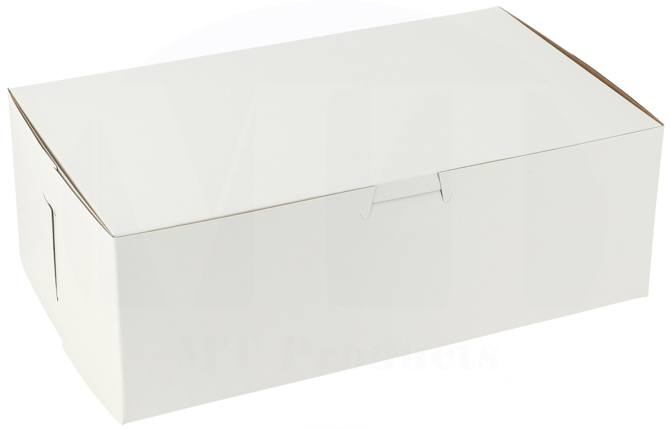 10'' Length x 6'' Width x 3 1/2'' Height Clay Coated Kraft Paperboard White Non-Window Lock Corner Bakery Box by MT Products (Pack of 15)