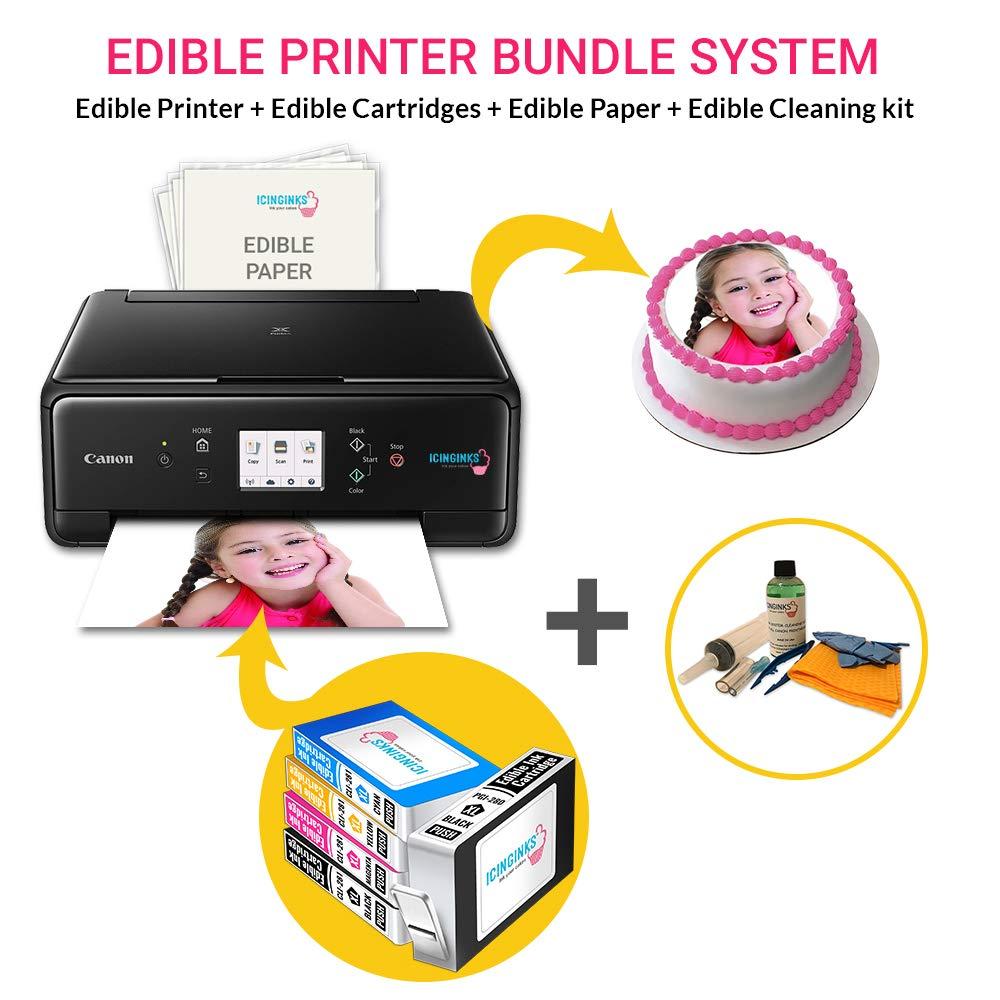 Icinginks Edible Printer Bundle, Includes Latest Edible Ink Printer Canon Pixma TS6120, 50 Edible Sheets, Edible Cartridges & Edible Cleaning Kit - Edible Ink Image Printer, Edible Photo Cake Printing
