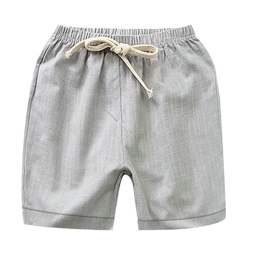 Pandapang Little Boys Adorable Elastic Waist Casual Strings Beachwear Candy Color Shorts