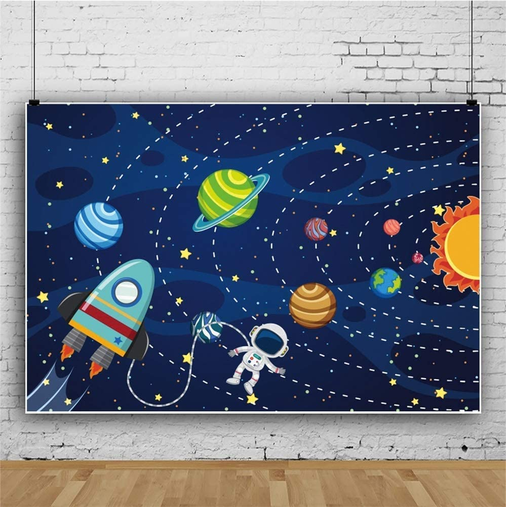 Space 10x12 FT Photo Backdrops,Cute Little Cartoon Rocket with Circular Flight Path and UFOs Sun Polka Dots Skyline Background for Photography Kids Adult Photo Booth Video Shoot Vinyl Studio Props