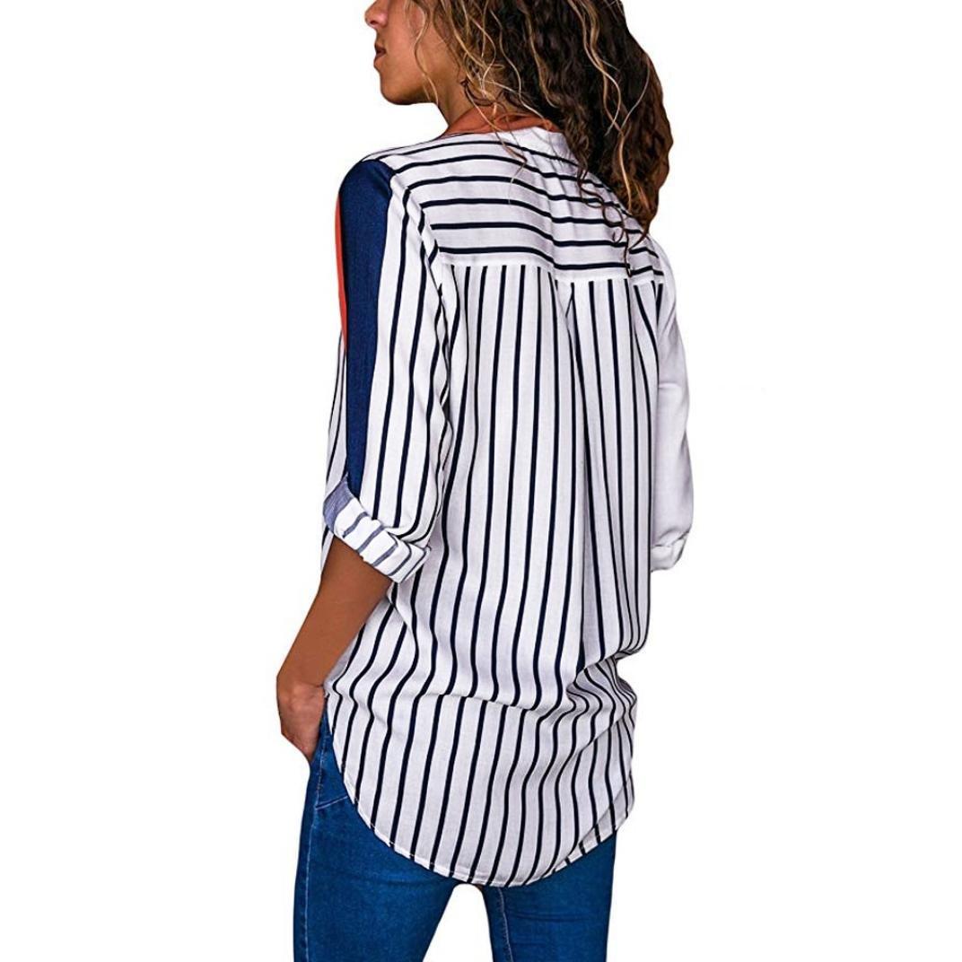 VJGOAL Camiseta Casual de Manga Larga para Mujer Colorido Estampado de Rayas de Media Cara con botón Sin Tapa Camisetas Tops Blusa: Amazon.es: Ropa y ...