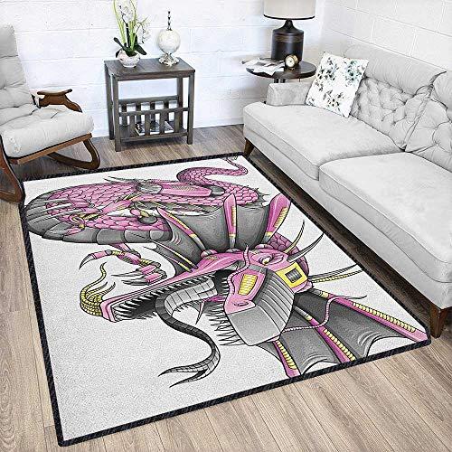 Dragon Large Classical Carpet,Digital Robotic Cyborg Dragon Character Figure Modern Game Knight Graphic Protect Floors Yellow Fuchsia Grey 79