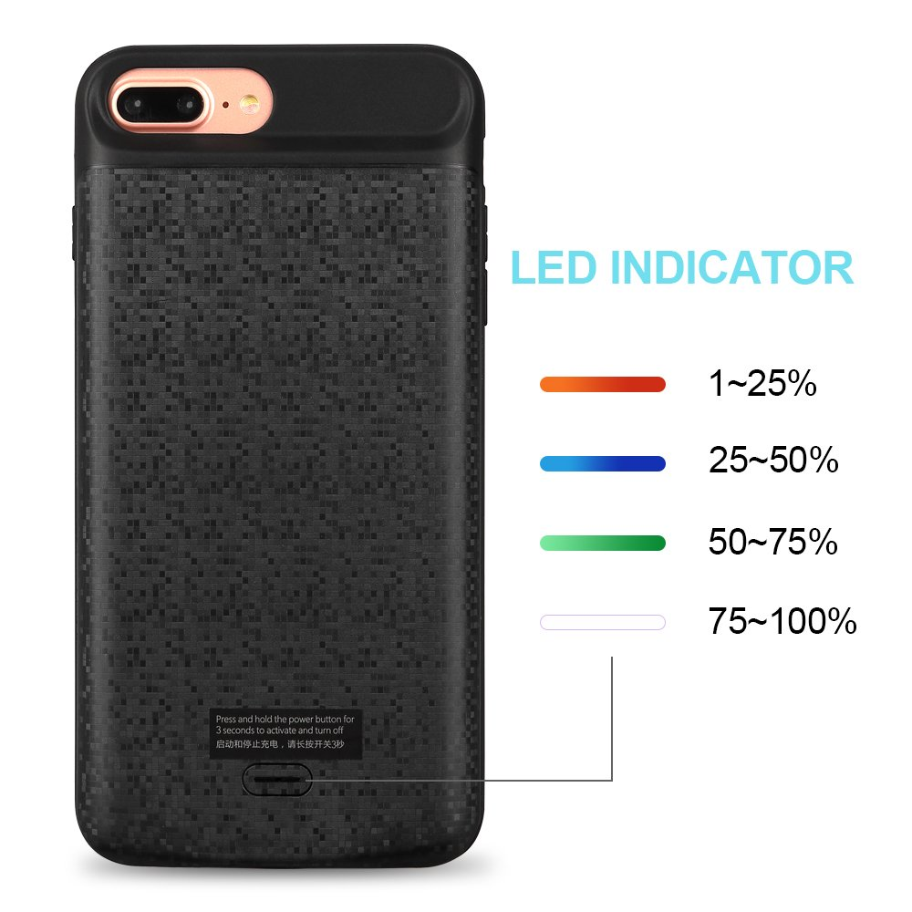 Mbuynow Iphone Charger Case Battery Case Iphone 6 plus / 7plus / 8 plus / 3700mah 5.5 Inch Slim External Charger Case Rechargeable Portable Iphone Battery Case