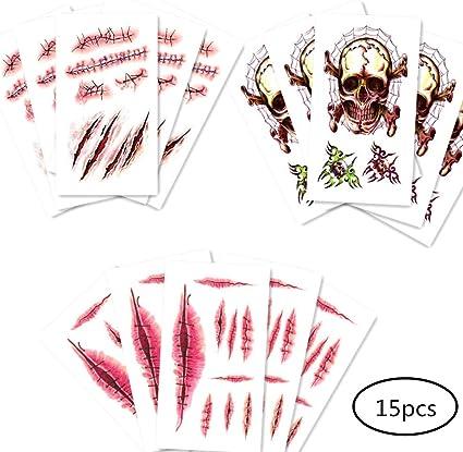 Hrpa 15 PCS Zombie Scar Tatuajes temporales Sangre falsa de la ...