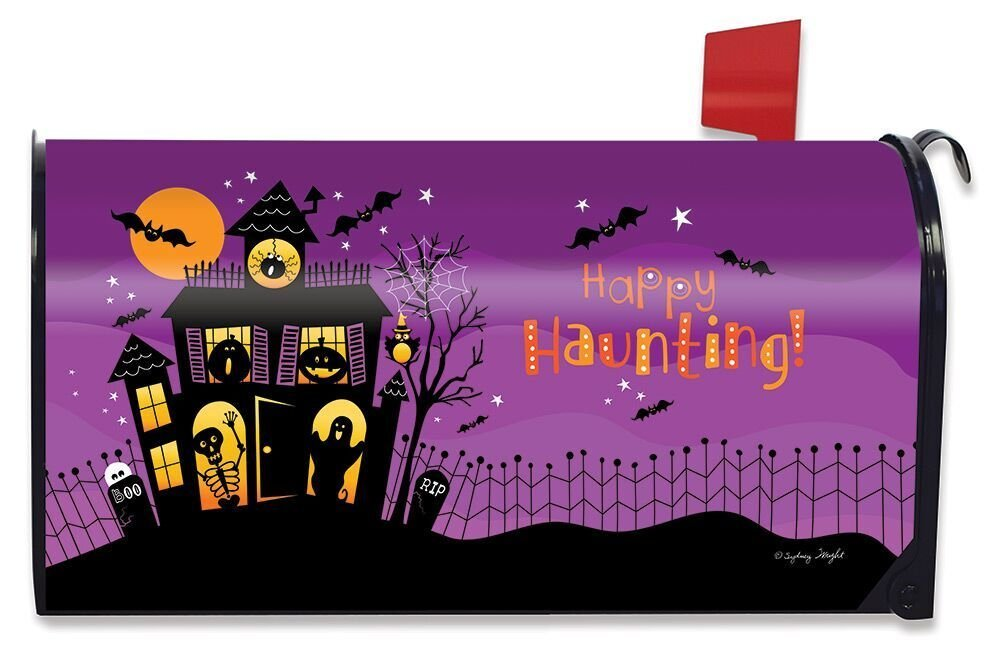 Briarwood Lane Happy Haunting Halloween Magnetic Mailbox Cover Haunted House Standard