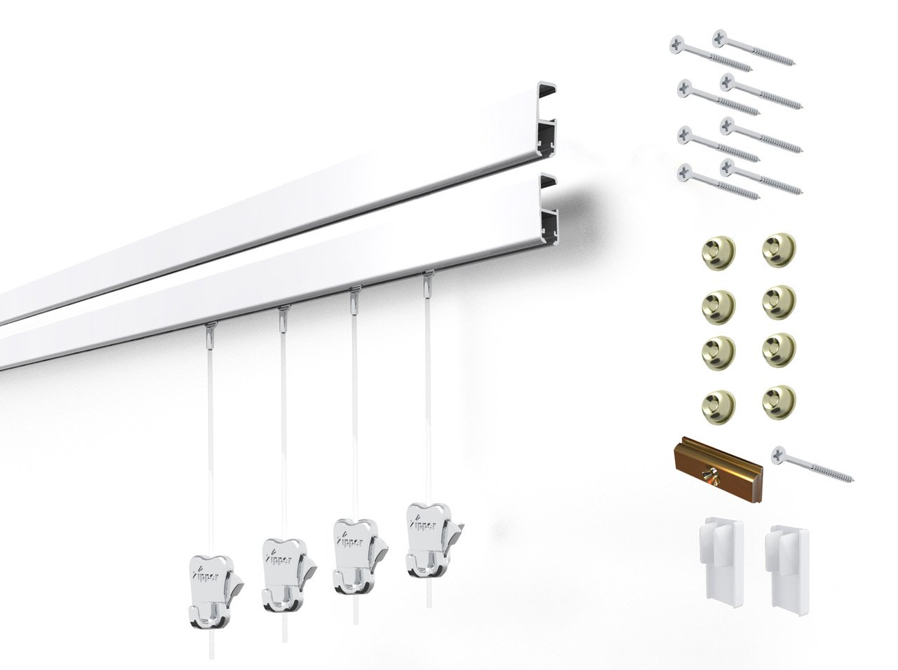 4 Hanging Components STAS Cliprail Pro Picture Hanging System Kit- Heavy Duty Track and Art Hanging Gallery Kit for Home, Office or Public Space (2 rails 4 hooks and cords, white rails)