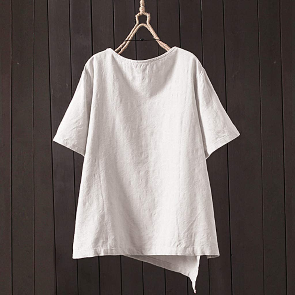 F/_Gotal Summer Tops for Women Plus Size Casual Loose Linen Irregular Button Tunic Shirts Blouse Tops for Girls