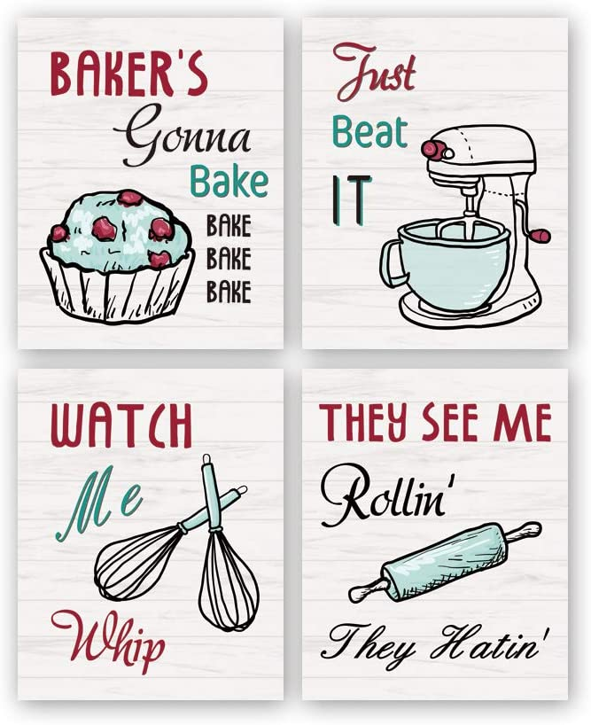 "Funny Kitchen Wall Art Print,Watch Me Whip Quote Canvas Painting,Set of 4 (8""10"",Unframed) Colorful Kitchen Signs Canvas Poster,Baking Room,Restaurant Decor"