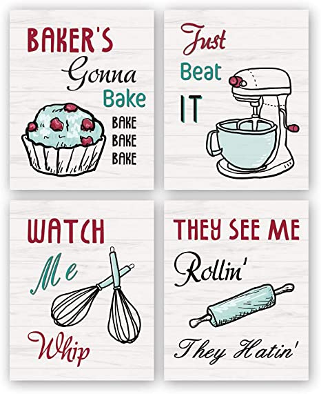 Amazon Com Kairne Funny Kitchen Wall Art Print Watch Me Whip Quote Canvas Painting Set Of 4 8 10 Unframed Colorful Signs Poster Baking Room Restaurant Decor Home