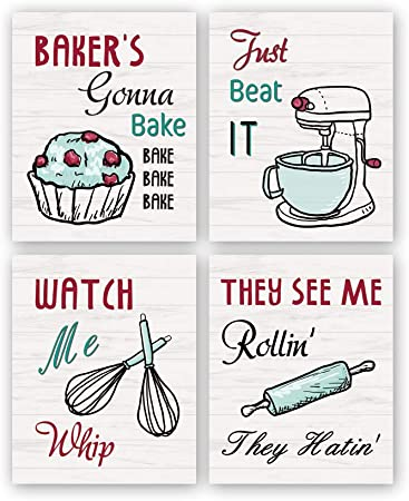 Amazon Com Funny Kitchen Wall Art Print Watch Me Whip Quote Canvas Painting Set Of 4 8 10 Unframed Colorful Kitchen Signs Canvas Poster Baking Room Restaurant Decor Posters Prints