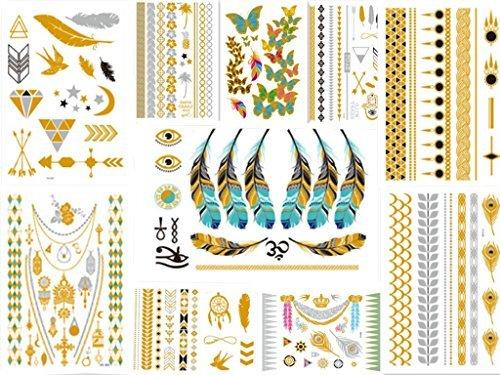 [10 Sheet]Metallic Temporary Tattoos Sheet - Gold Silver Temporary Tattoos High Gloss Shimmer Effect For Face/Waist/Leg Tattoos - Halloween Costume (Hawaiian Beauty Costume)