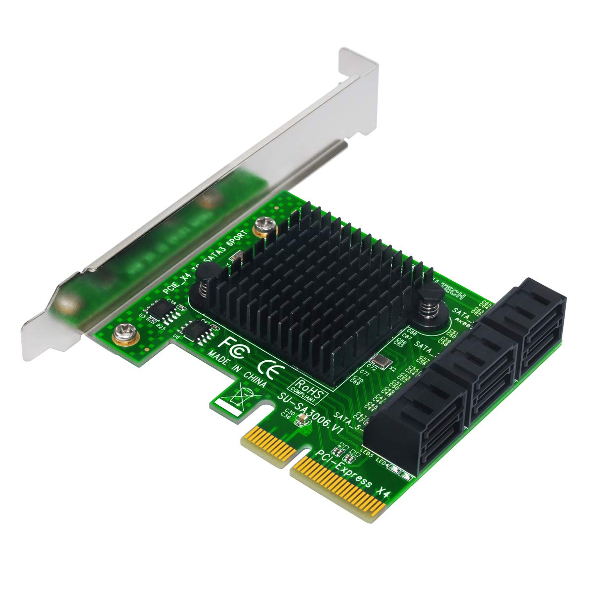 Expansion Card,Ubit Riser Card,PCIe 2.0 X2 to SATA III 6-Port Adapter Card (ASM Chipset) for IPFS Mining,Pci-e to SATA3.0 Expansion Card,SATA3.0 Riser Card 6G IPFS Hard Disk Expansion Card